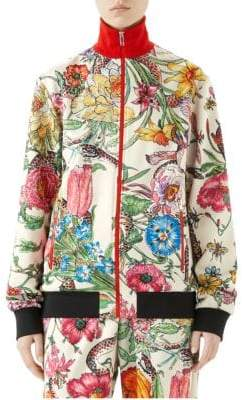 Gucci Women's Long-Sleeve Jersey Floral Zip-Up Jacket - Gardenia Multi - Size Medium