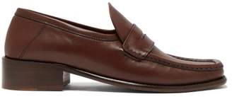 BY FAR Britney Leather Loafers - Womens - Dark Brown
