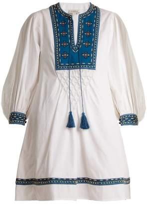 Talitha - Ilaria Bead Embellished Cotton Dress - Womens - White Navy