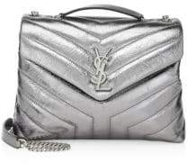 Saint Laurent Small Lou Lou Metallic-Leather Chevron Crossbody Bag