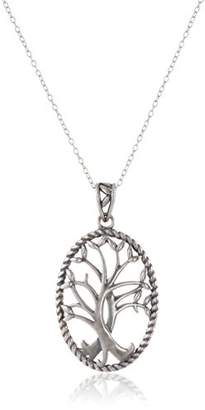 Celtic Sterling Silver Oxidized Tree of Life Oval Pendant Necklace