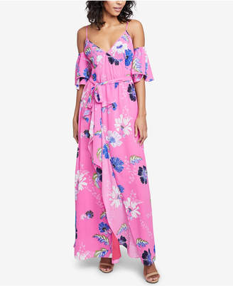 Rachel Roy Printed Ruffled Cold-Shoulder Dress, Created for Macy's