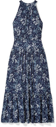 MICHAEL Michael Kors Floral-print Cloqué Midi Dress - Navy