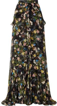 Erdem Alison Ruffled Floral-print Silk-voile Maxi Skirt - Black