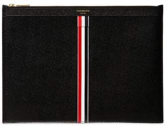 Thom Browne Large Stripes Pebbled Leather Pouch