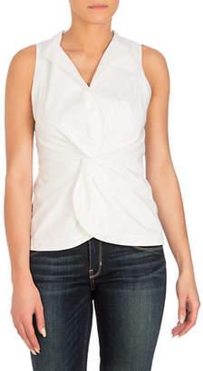 GUESS Arin Poplin Twist-Front Button-Down Shirt
