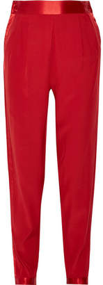 Fleur Du Mal Satin-trimmed Striped Silk Crepe De Chine Tapered Pants - Claret
