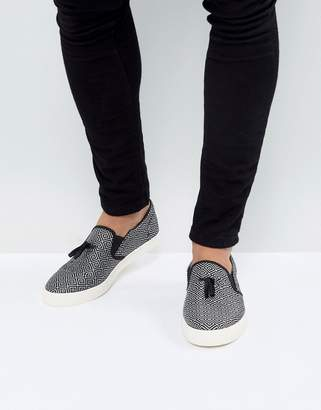 Asos Slip On Sneakers In Geometric Satin With Tassel