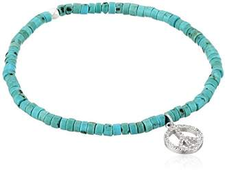 Tai Silver Peace Turquoise Stretch Bracelet