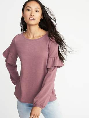 Old Navy French Terry Ruffle-Sleeve Sweatshirt for Women