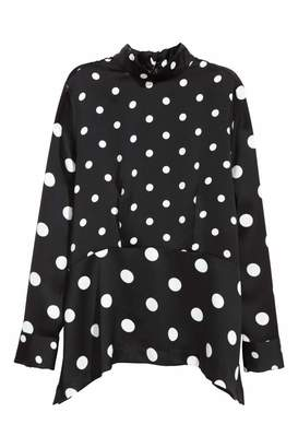 H&M Blouse with Ties - Black/patterned - Women