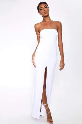 ee9fc42d4ef33 I SAW IT FIRST White Split Front Bandeau Maxi Dress