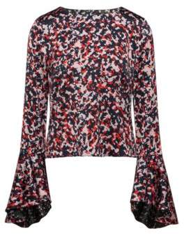 HUGO Boss Camouflage-print top volant sleeves 0 Patterned