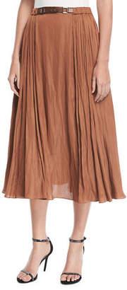 Halston Leather-Detail Midi Skirt