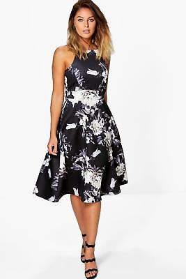 Damen Eleanor Skater-Kleid in Midilänge mit Blumen-Print und schmalen