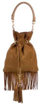 Saint Laurent Monogram Fringed Suede Bucket Bag