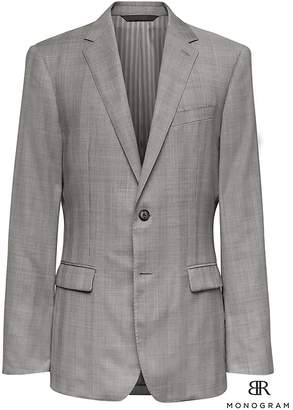 Banana Republic Monogram Slim Gray Plaid Italian Wool Suit Jacket