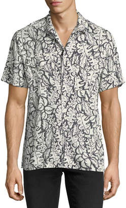 Ovadia & Sons Leaf-Print Beach Shirt