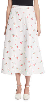 Co Floral-Embroidered Trumpet Midi Skirt