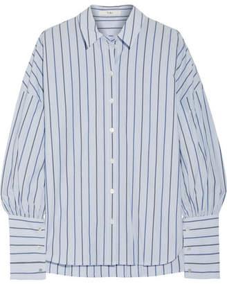 Tibi Striped Cotton-poplin Shirt - Light blue