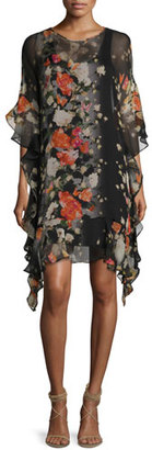Fuzzi 3/4-Sleeve Floral-Print Ruffled Silk Shift Dress, Black $695 thestylecure.com