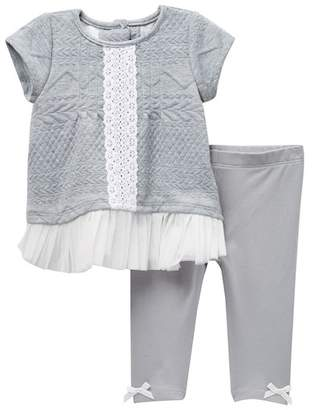 Pippa & Julie Short Sleeve Quilted Tunic with Leggings Set (Baby Girls 0-9M)