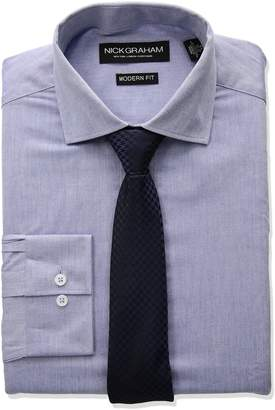 Nick Graham Men's Chambray Dress Shirt with Houndstooth Tie Set