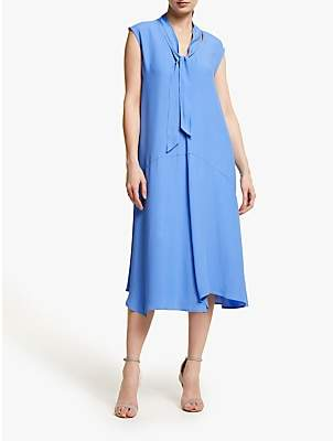 John Lewis & Partners Tie Neck Asymmetric Hem Midi Dress, Ultramarine Blue