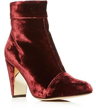 MARION PARKE Women's Ditto Velvet Cap Toe High-Heel Booties