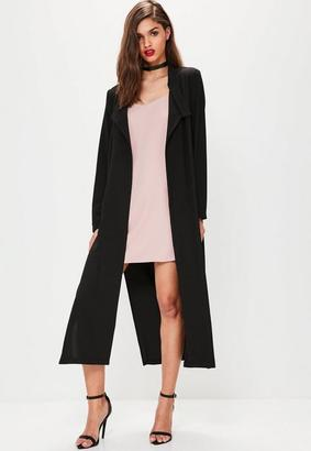 Black Long Sleeve D Ring Detail Maxi Duster Coat $66 thestylecure.com