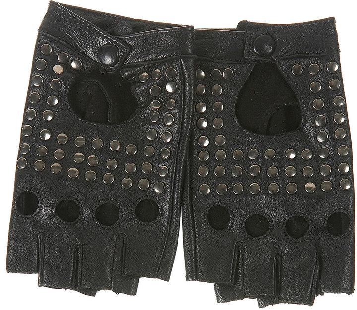 Stud Fingerless Leather Gloves
