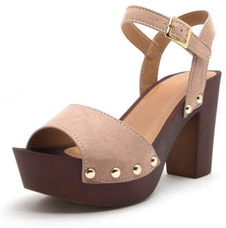 Qupid Blush Wooden Heel
