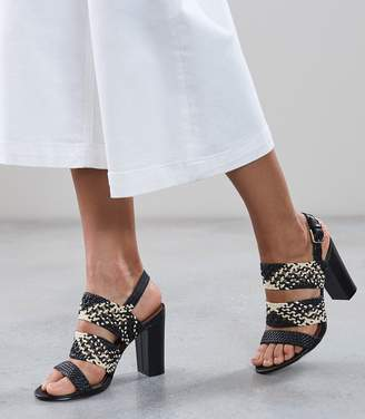 Reiss Sylvia - Woven Block Heeled Sandals in Black/natural