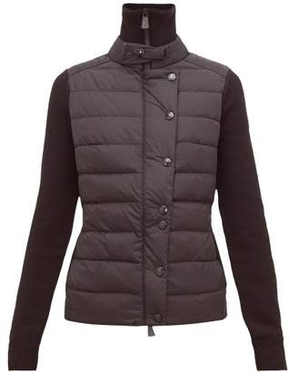 Moncler Quilted Front High Neck Technical Jacket - Womens - Black