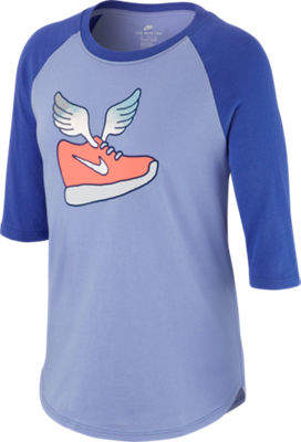 Nike Girls Winged Raglan Three-Quarter Sleeve T-Shirt