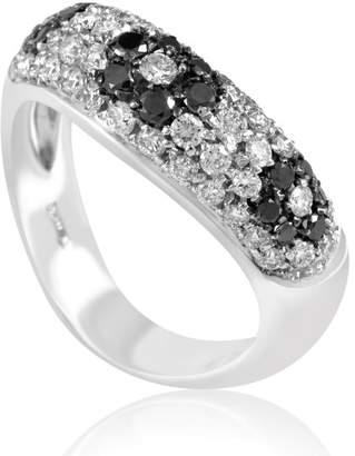 Fratelli Lani 18K White Gold 1.17ct Black & White Diamond Flower Ring Sz 7