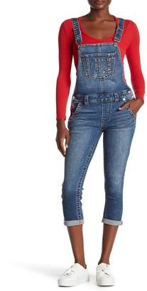 True Religion Halle Denim Capri Overalls