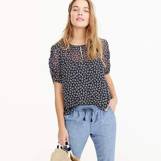 J.Crew Petite ruched-sleeve top in sparkle floral
