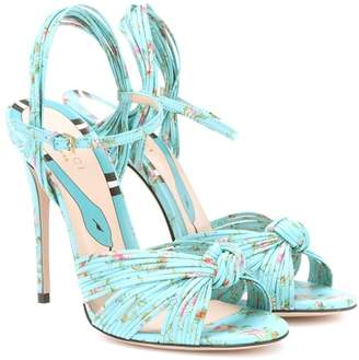 Gucci Floral-printed leather sandals