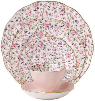 Royal Albert Rose Confetti Vintage formal 5 Piece Bone China Place Setting, Service for 1