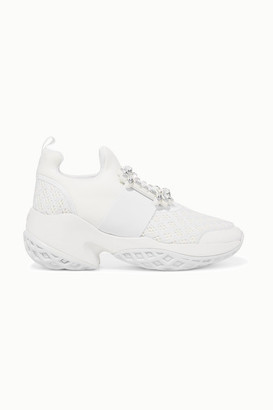 Roger Vivier Viv Run Crystal-embellished Neoprene, Mesh And Leather Slip-on Sneakers - White