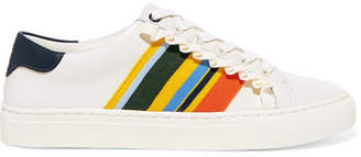 Tory Burch Striped Leather Sneakers - White