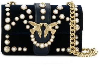 Pinko mini Love Velvet Pearls 1 shoulder bag