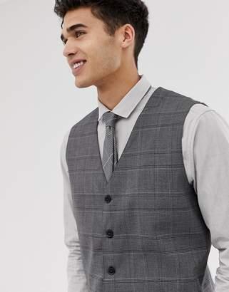 slim wedding waistcoat in check