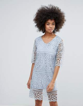 Darling 3/4 Sleeve Crochet Lace Shift Dress