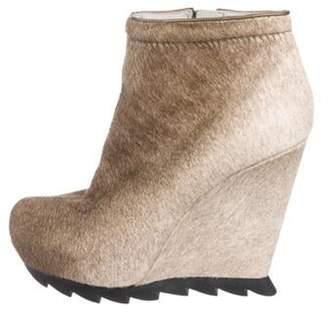Camilla Skovgaard Ponyhair Wedge Ankle Boots Beige Ponyhair Wedge Ankle Boots