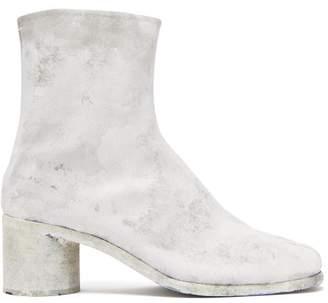 Maison Margiela Tabi Coated Suede Boots - Mens - White