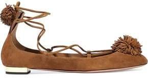Aquazzura Sunshine Pompom-Embellished Nubuck Ballet Flats