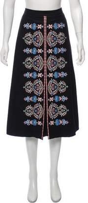 Vilshenko Embroidered Midi Skirt