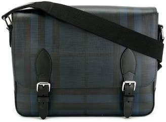 Burberry Medium Leather Trim London Check Messenger Bag